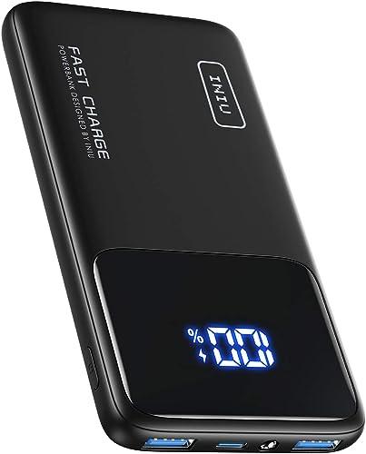 INIU Batterie Externe, 20W PD3.0 QC4.0 Charge Rapide USB C 10500mAh LED Power Bank, Chargeur Portable avec Support de...