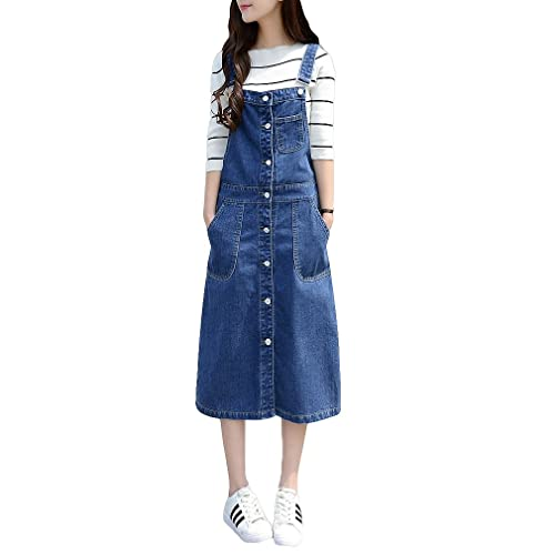 30c6b0a8413 mewow Women s Front Button Casual Long Suspender Skirt Denim Overall Dress  Plus Size