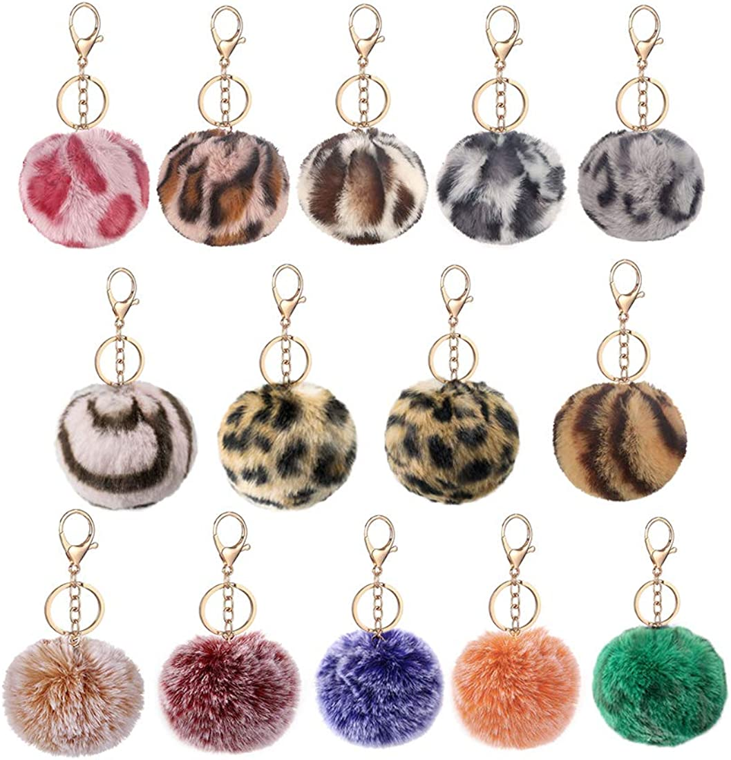 Pompoms Keychains Charms Faux Rabbit Fur Pompoms Fluffy Puff Balls Leopard Style