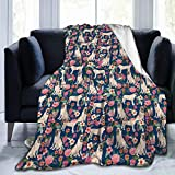 HloChang Ultra Soft Fleece Throw Blanket English Mastiff Florals (Smaller) Dog Cozy Warm Plush Throw Blanket for Sofa/Bed/Couch
