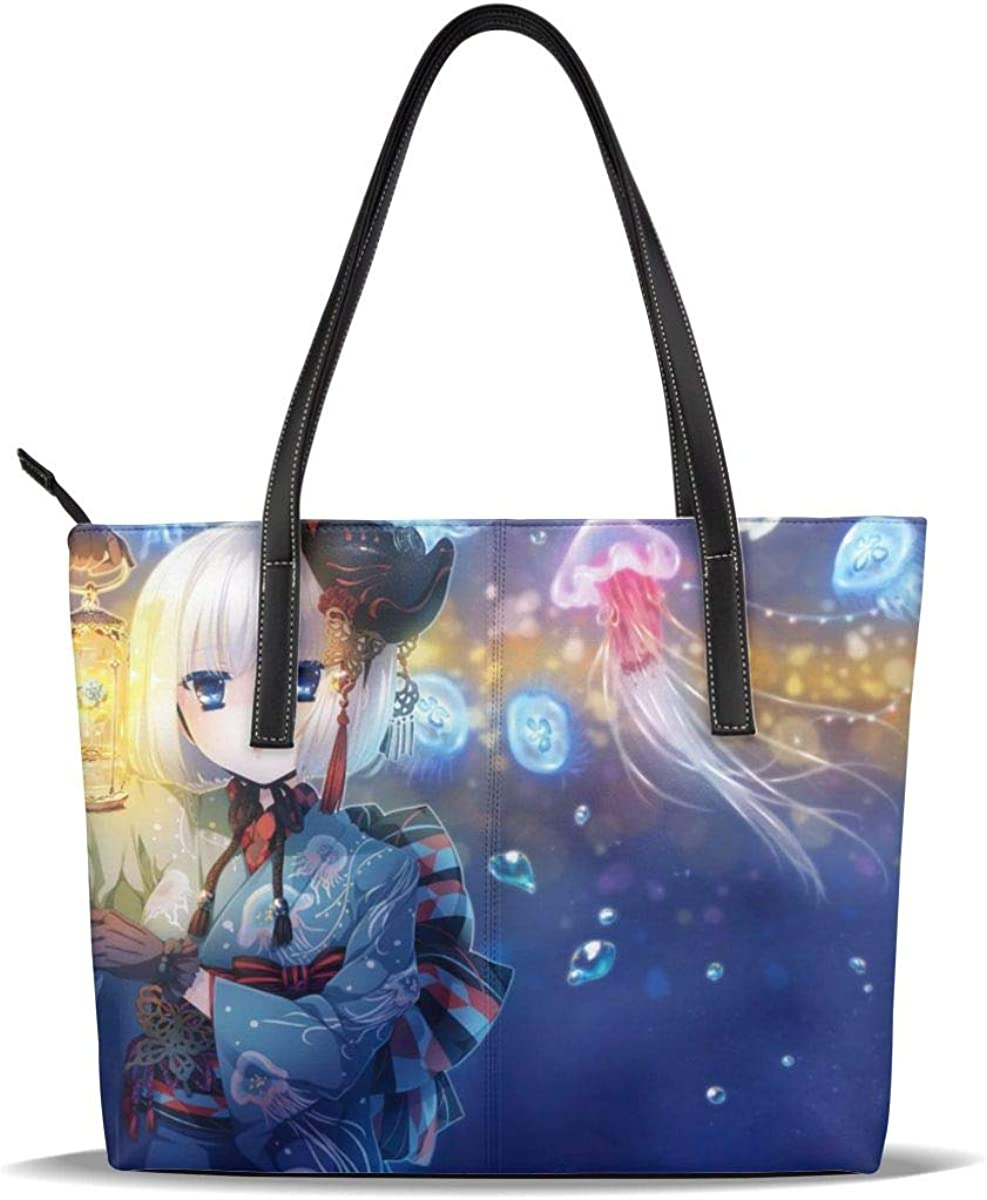 Blue Cute Jellyfish Picture Girls Large Nippon regular agency special price Printed PU Pattern Leather Cas
