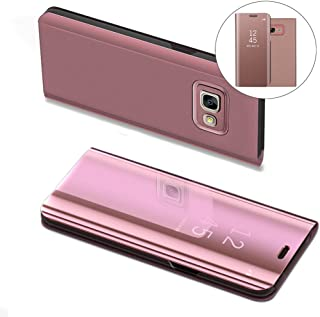 Samsung J5 Prime Case, COTDINFORCA Mirror Design Clear View Flip Bookstyle Luxury Protecter Shell With Kickstand Case Cover for Samsung Galaxy On5 2016/J5 Prime SM-G570F. Flip Mirror: Rose Gold