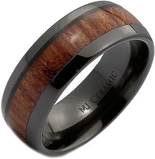 MJ 金属首饰 黑色陶瓷 6mm 或 8mm 结婚戒指,镶嵌由真考木制成