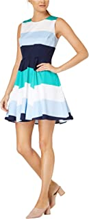 Maison Jules Womens Colorblock Above Knee Party Dress