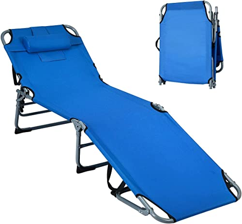 Giantex Outdoor Folding Chaise Lounge Chair, Adjustable Camping Recliner Chair with Face Hole, Removable Pillow, Sunbathing Headrest and Tray, Foldable Beach Bed Cot for Backyard Patio Pool (Blue)