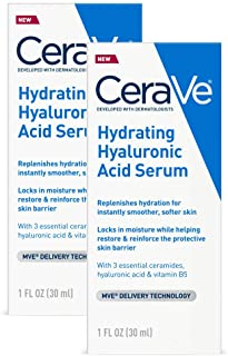 CeraVe Hyaluronic Acid Face Serum | 2 Pack, 1 Oz Each | Hydrating Serum for Face With Vitamin B5 | for Normal To Dry Skin | Paraben & Fragrance Free