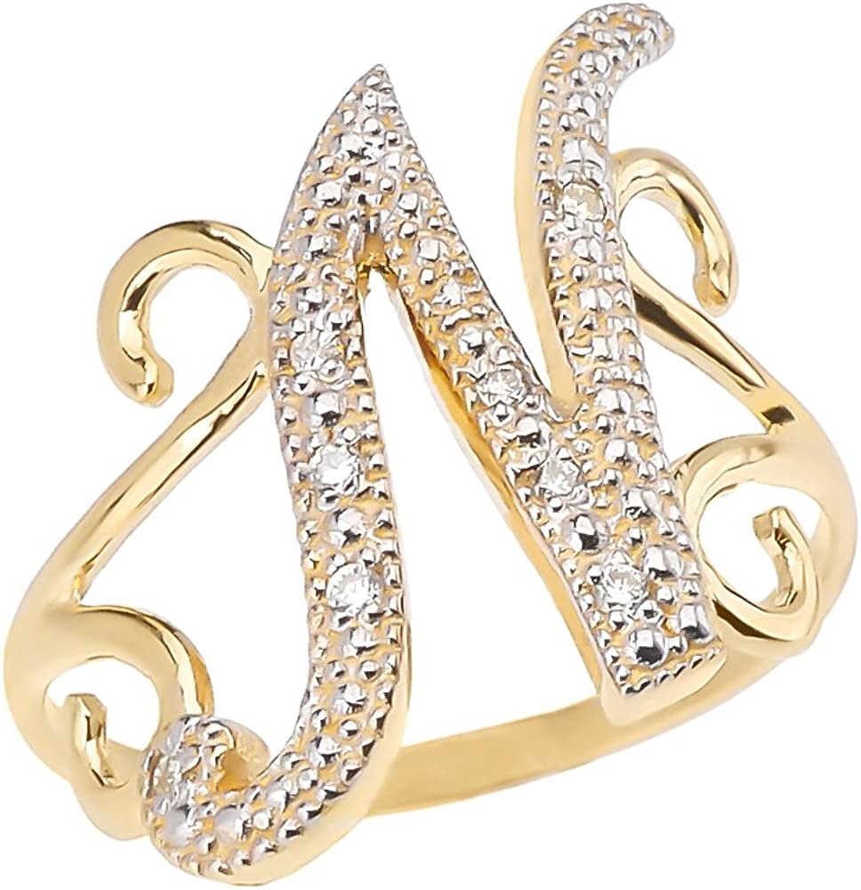 Initial Rings 10k Yellow Gold A surprise price is realized Sales of SALE items from new works Diamond Modern Cursive N