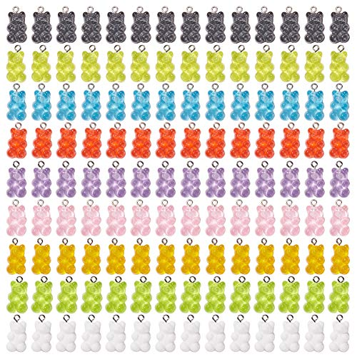 SUNNYCLUE 126 Piezas Colorido Gummy Bear Charms Colgantes 9 Color Lindo Candy Resin Bear Charm para Pendiente Collar Pulsera Joyería Decoración Fiesta Favores Regalos de Cumpleaños Accesorio