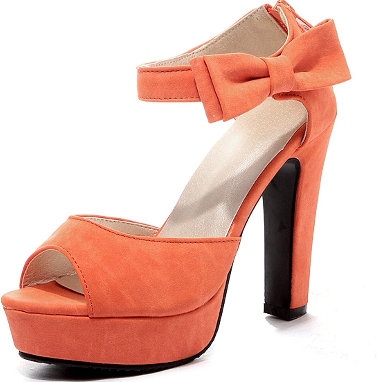 DoraTasia Sexy Peep Toe Bow Knot Thick High Heel Platform Women Summer Sandals