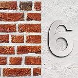 Número de casa'6' 3D Acero inoxidale 20cm Arial Resistente intemperie y corrosión Material montaje