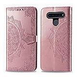 Lomogo LG K41S / K51S Hülle Leder, Schutzhülle Brieftasche mit Kartenfach Klappbar Magnetisch Stoßfest Handyhülle Hülle für LG K51S / K41S - LOSDA021834 Rosa Gold