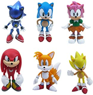 Set of 6pcs Sonic the Hedgehog Action Figures, Cake Toppers, 2.4