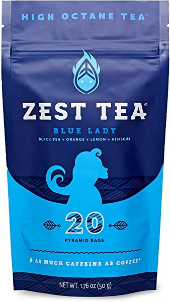 Zest Tea Energy Hot Tea High Caffeine Blend Natural Healthy Traditional Black Coffee Substitute Perfect For Keto 150 Mg Caffeine Per Serving 20 Sachets 1 Pouch Blue Lady Black Tea