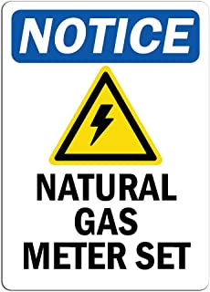 Notice - Natural Gas Meter Set Sign with Symbol | Label Decal Sticker Retail Store Sign Sticks to Any Surface 8