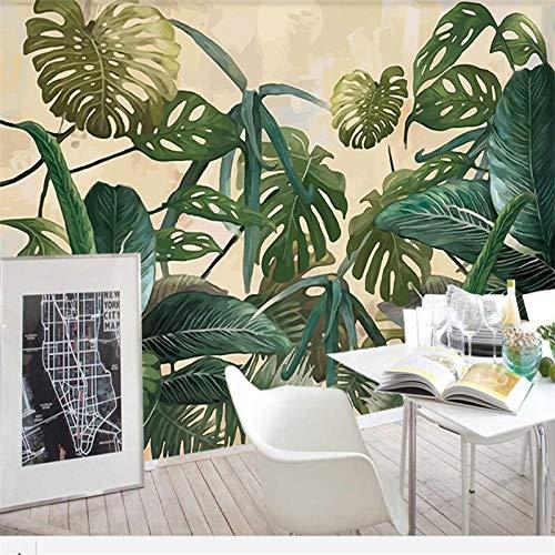 Mural decorativo 3D 3D con hojas de plátano tropical, 350 x 256 cm