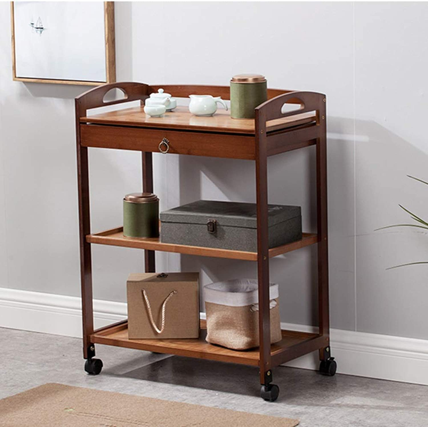HUO Mobile Bookshelf, with Wheel Cart, Dining Car, Floor Magazine Rack, Living Room Storage Rack, Finishing Storage Shelf with Drawer Bookcases (color   Brown, Size   60  33  80cm)