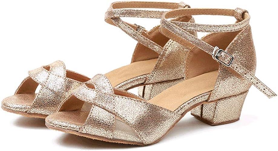 WHL.LL Des femmes Satin Maille Chaussures de danse latine Brillant Paillette Chaussures de danse modernes Antidérapant Fond mou Chaussures de danse de salon