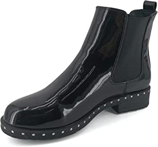 Women's Chelsea Boots Slip-on Low Heel Pointed Toe Ankle Booties with Rivets