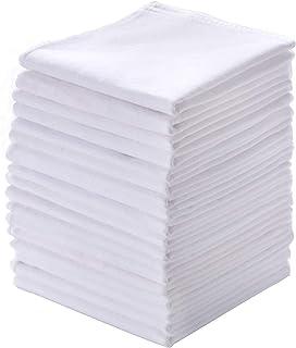 دستمال های مردانه 18 بسته 100٪ پنبه خالص و جامد سفید هانکی
