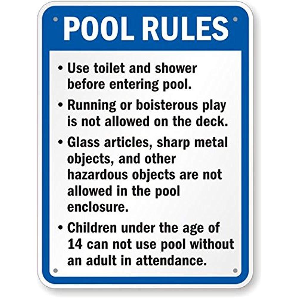 Señal de las reglas de piscina California, 30,5 x 45,7 cm: Amazon.es: Amazon.es
