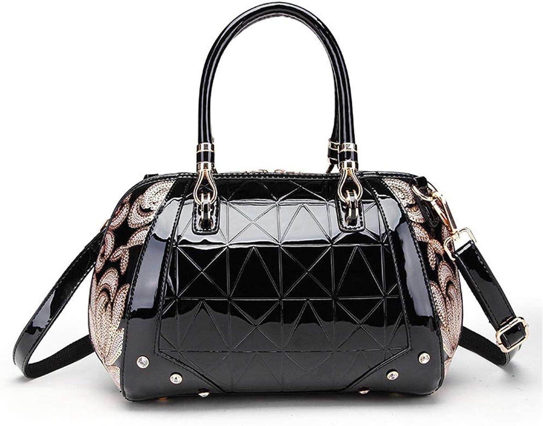 NZZNB Fashion Women's Bag Patent Leather Glossy Rhinestone Decorative Handbag Sequins Floral Pattern Decorative Shoulder Bag Elegant Cylinder Bag Satchel Tote Purse Top-Handle Handbags