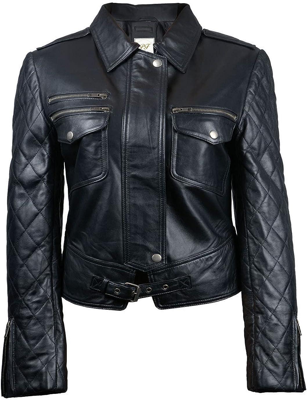 Pelletteria Factory Ravine Black Biker Womens Real Faux Leather Jacket - Biker Faux Leather Jacket