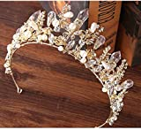 CanB Bridal Wedding Queen Flower Crowns and Tiaras Baroque Bride Hair Accessories for Women