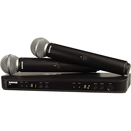 Shure BLX288/SM58 Wireless Microphone System for Two Performers with BLX88 Dual Channel Receiver and Two BLX2 Handheld Transmitters with SM58 Mic Capsules, the Industry Standard for Vocal Performances