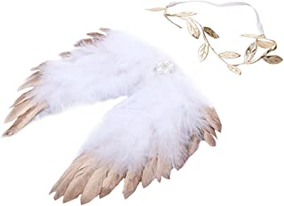 Nelnissa Baby Angel Feather Wings Newborn Photography Props Costume Premium Outfits with Leaves Headband 9.36 X 5.46inch (Gold/Silver)