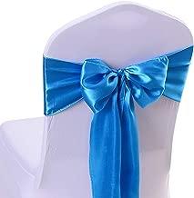 10PCS 17X275CM Satin Chair Bow Sash Wedding Reception Banquet Decoration #16 Sky Blue