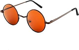 OULIQI Occhiali da Sole Donna e Uomo Rotondi Polarizzati Specchiati Retrò Vintage Doppio Ponte Tondi Montatura in Metallo
