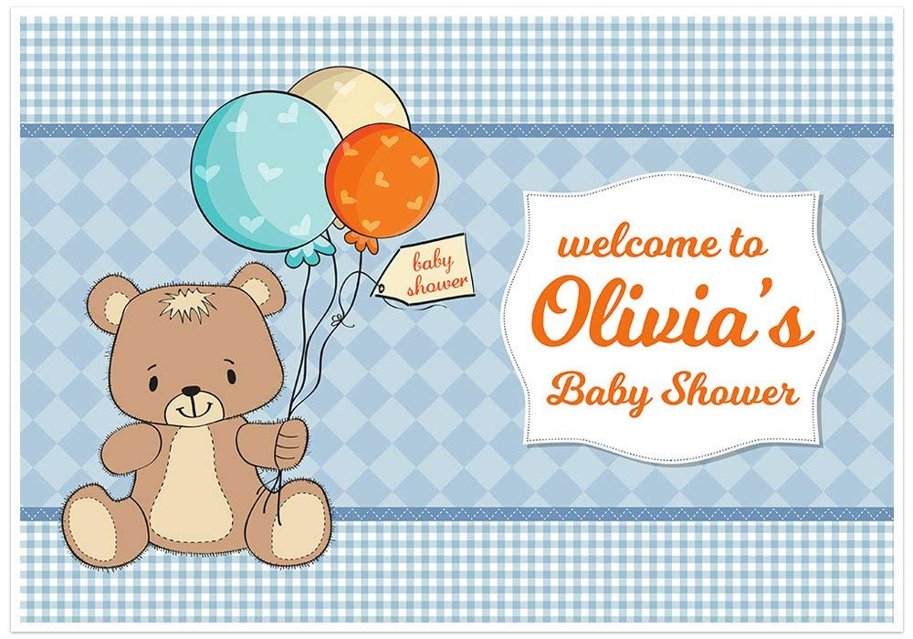 New Free Shipping Teddy Bear with Balloons Baby Shower Now on sale Banner Cake Table Dessert P