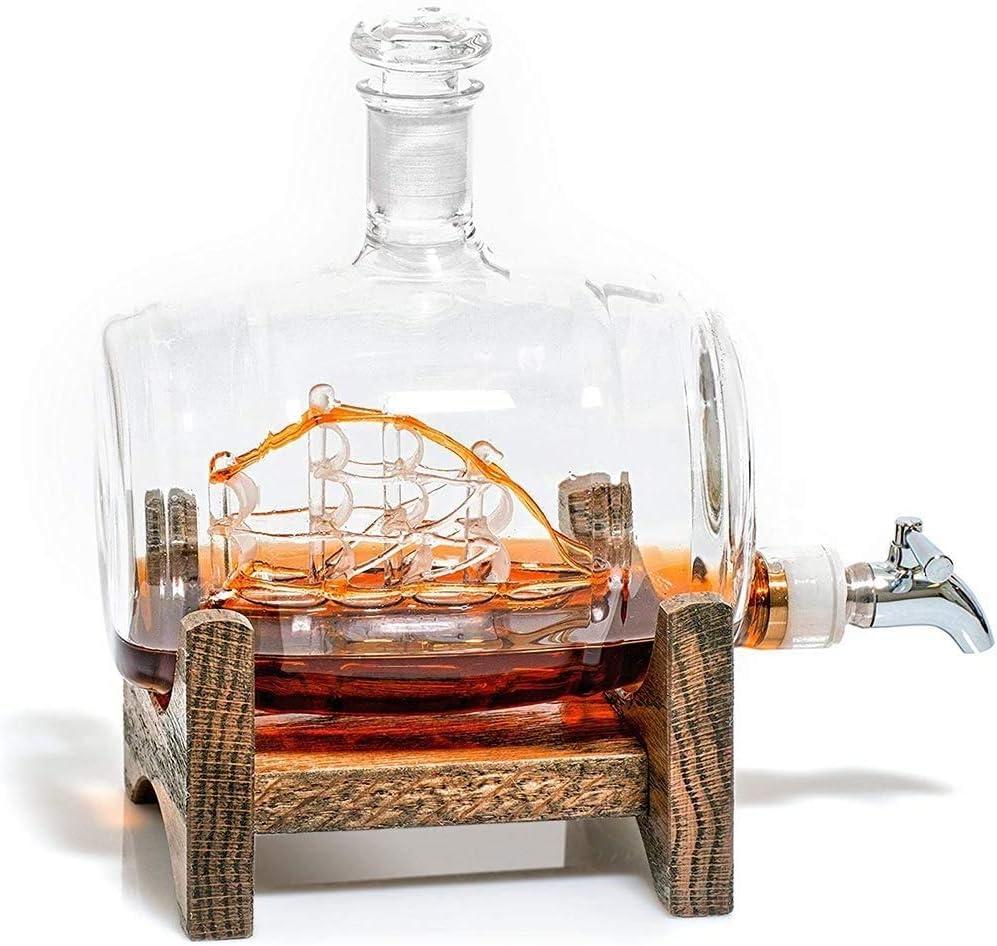 DONGSHUAI Barrel Whiskey Decanter with Ranking TOP18 Dispens Liquor Max 44% OFF 500ML Ship