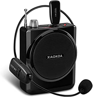 XIAOKOA Voice Amplifier Rechargeable1800mAh with Headset Microphone Mini Portable Loudspeaker Megaphone for Tour Guides, Teachers, Coaches, Presentations, Costumes Support FM/MP3/TF/SD Card