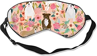Staffordshire Terrier Dog Staffy Floral Design Pea Silk Sleep Mask Comfortable Blindfold Eye mask Adjustable for Men, Women or Kids