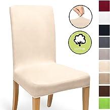 Beautissu Funda de sillas MIA - 35x50 cm Funda elástica de algodón - Bi-elástica - ÖKO-Tex - Arena