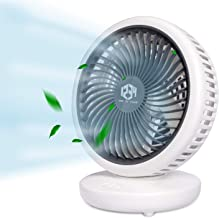 Desk Table Fan, Quiet Air Circulator 120 Degree Rotation Oscillating Fan with rechargeable 4000mAh Battery, 4 Speed Settin...