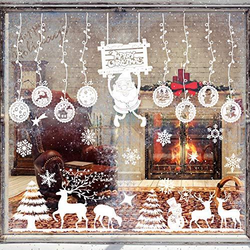 HAIGOU Fensterbilder Weihnachten,Weihnachtsdeko Fenster, Fenstersticker Fensteraufkleber PVC Fensterdeko Selbstklebend, für Türen Schaufenster Vitrinen Glasfronten Deko (Reines Weiß)