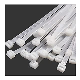 "10"" Inch Zip Ties White (100 Pack), 40lb Strength, Nylon Cable Wire Ties, 250mm x 8mmStrong Self-Locking Zip Ties Nylon Ca..."