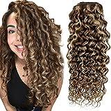 Hetto Clip in Human Hair Extensions 14pulgada Brasileño 4/27 Marrón Oscuro con...