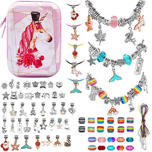 ZesNice Mädchen Geschenke 4-11 Jahre Charm Armband Kit DIY, 71Stück Geschenke für Mädchen Schmuck Bastelset Mädchen, Spielzeug Mädchen Kinder Geschenke Weihnachten Geschenk Mädchen 5 6 7 8 9 10 jahre