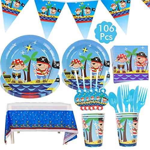 Amycute 106-teiliges Piraten Party zubehör Set, Piraten Deko Set,Piraten Kinder Party Geburtstag Dekorationen - Teller Becher Servietten Tischtüchern Löffel Gabeln und Messern für 12 Kinder.