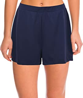 Women's Solid Color Waistband Tankini Boyleg Swimsuit Boardshorts with Briefs