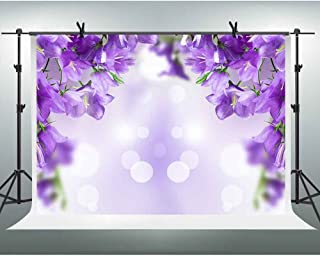 FHZON Gold Glitzer Hintergrund für Fotografie, lilafarbener Blumen Hintergrund, Fantasie Blitze, Geburtstagsparty, Farbe traumhafter Hintergrund, Violette Blume, 10x7 FT
