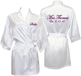 Personalized Mrs. Satin Bridal Robe with Name and Title - White