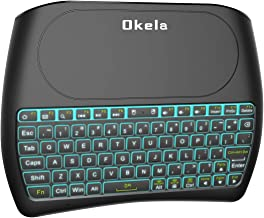 (Okela D8 Upgraded Version) Mini Wireless Keyboard with Touchpad Mouse, 2.4Ghz Backlit Handheld Rechargeable TV Keyboard Remote for PC/Google Android TV Box,Raspberry Pi and More