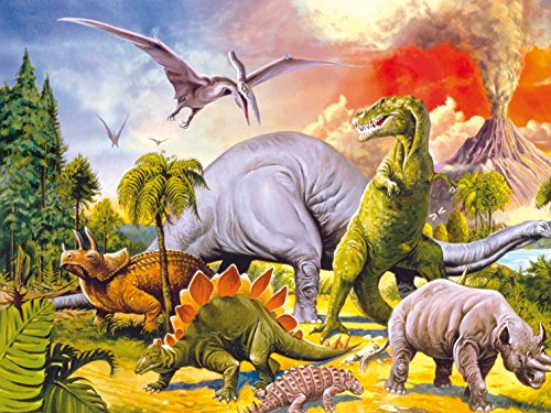1art1 Dinosaurier - Collage, Dino-Welt, 2-Teilig Fototapete Poster-Tapete 240 x 180 cm