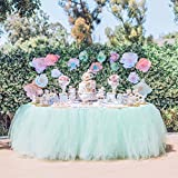 Tulle Table Skirt Tutu Table Skirts Wedding Tablecloth Birthday Baby Shower Party Table Skirting Table Decorations 9ft-Mint (Mint, 9ft (L) x 30inch (H))