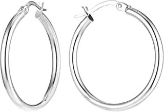 Charmsy Sterling Silver Jewelry Classic Italian Click Top Hoop Earrings for Girl Teen Women