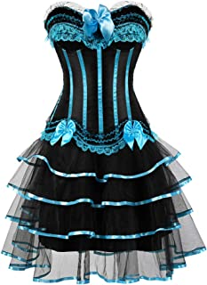 Gothic Halloween Lace up Corset Skirt Moulin Rouge Showgirl Clubwear